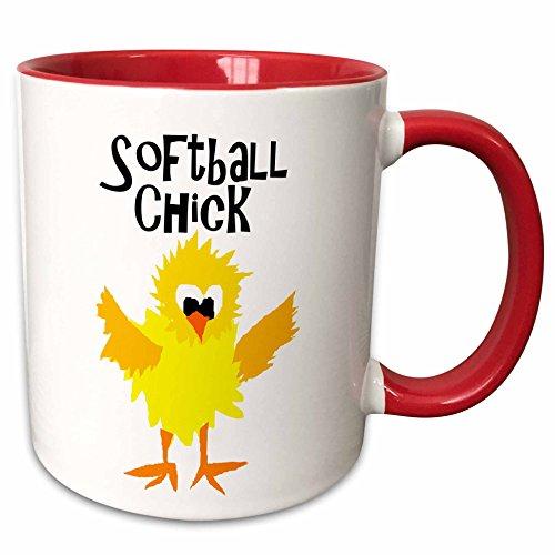 3dRose 255648_5 Funny Cute Chick Softball Player Ceramic Mug 11 oz Red/White