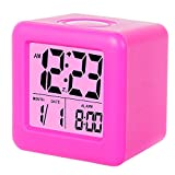 Alarm Clock, SkyNature Digital Soft Cube Snooze Light Alarm Clock for students kids & Teens (Hot Pink)