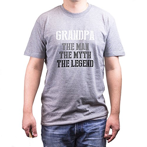 Grandpa Man Myth Legend Grey T-shirts for Grandfathers Father's Day Gifts Ideas (UNISEX-XL)