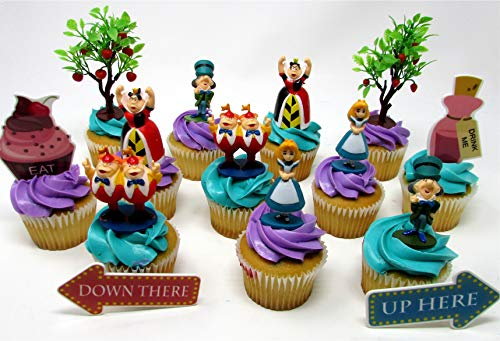 Alice in Wonderland Birthday Cake CUPCAKE Topper Set Featuring Characters from Alice in Wonderland and Themed Decorative Accessories -