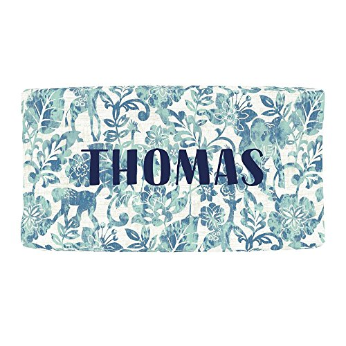 Carousel Designs Personalized Custom Denim and Mint Jungle Changing Pad Cover Thomas Idea - Organic 100% Cotton Change Pad Cover - Made in The USA