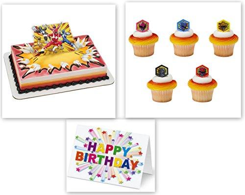 n Time Cake Topper PLUS 12 Matching Cupcake Rings Plus Birthday Card ()
