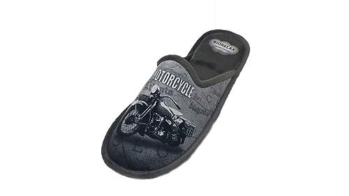 Zapatillas de Estar por casa/Hombre/Biorelax/Moto Gris/Cámara de Aire