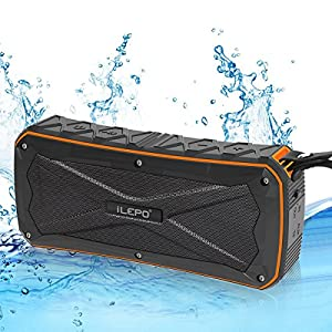 Waterproof Bluetooth Speaker, iLEPO IP66 Portable Wireless Speaker with 8W*2 Stereo Sound,Enhanced Bass with 6-12h Play-time, Build with 4500mAh Power Bank for Outdoor (Orange)
