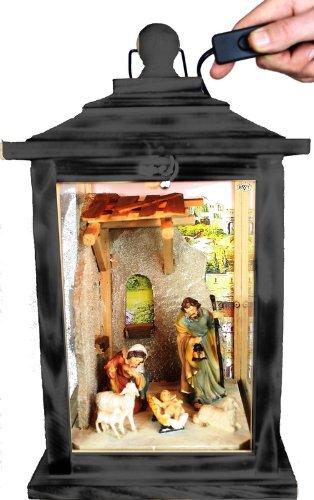KLG-MFOS-SCHWARZ Holzlaterne - Weihnachtskrippe MIT KRIPPENFIGUREN -Figuren - mit Beleuchtung 220V - Laterne aus Holz