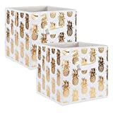 DII Foldable Fabric Storage Containers for Cube Organizers, Toys, Cloths or Knick Knacks (Set of 2), 13 x 13 x 13, Pineapple Gold