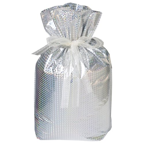 Gift Mate 21174-2 2-Piece Drawstring Gift Bags, Jumbo, Diamond Silver by Gift Mate