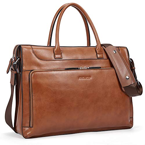 - BOSTANTEN Leather Briefcase Vintage Business Message Bags 15.6 inch Laptop Shoulder Handbag for Women & Men Brown
