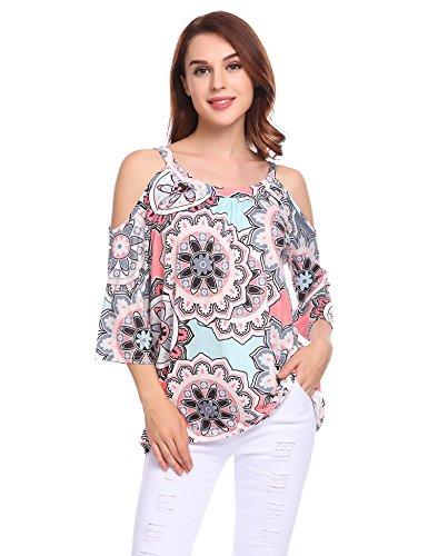 Bluetime Womens Floral Print Cut Out Shoulder Short Sleeve T Shirt Blouse Plus Size  M  Gray