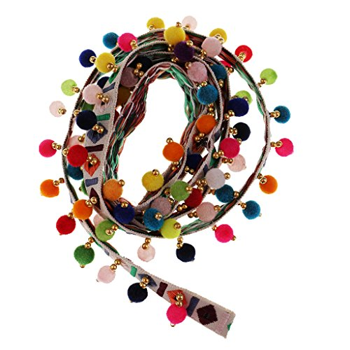 Ribbon Jacquard Trim White (Homyl 1 Yard Multicolored Ethnic Style Pompom Beads Fringe Tassel Braid Jacquard Ribbon DIY Sewing Fabric Craft Handmade Decorative Jewelry - White)
