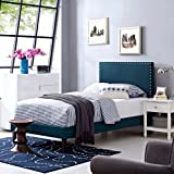 Modway Phoebe Twin Fabric Platform Bed with Squared Tapered Legs in Azure