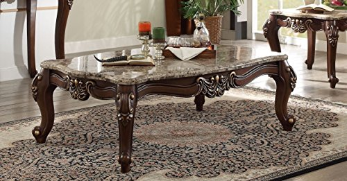 Major-Q Luxurious Traditional French Style Marble Top Walnut Finish Coffee Table for Living Room (P7081695)