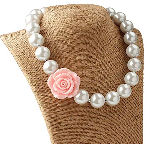 Gorse Necklace Beads Chain Chunky Necklace Bubblegum Necklace Toddler (Pink Roses) ()