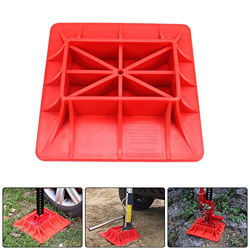 (Off-Road Base,WREOW Farm Off-Road Lifting Jack Base for Hi Lift Jack PP Synthetic Material Pad to Alleviate Jack Hoisting Sinkage (Red))