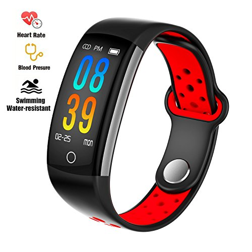Fitness Tracker Watch, Upgraded IP68 Swim Water-resistant HD Color Screen Smart Bracelet, HR/Blood Oxygen/Pressure/Calorie/Sleep Monitor,Pedometer Activity Tracker BLE 4.0 for Android/IOS (Black+Red)