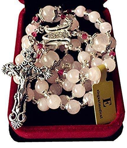 Quartz Rosary Crucifix - elegantmedical Handmade Pink Quartz Beads Catholic Rosary Cross Crucifix Necklace Box Sterling Silver Flower Beads caps