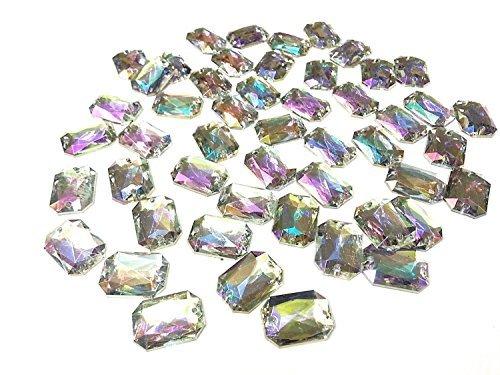 [CraftbuddyUS 50 13x18mm SEW on Ab Clear Faceted Rectangle Acrylic Diamante Rhinestone Gems] (Faceted Rectangle Shape)