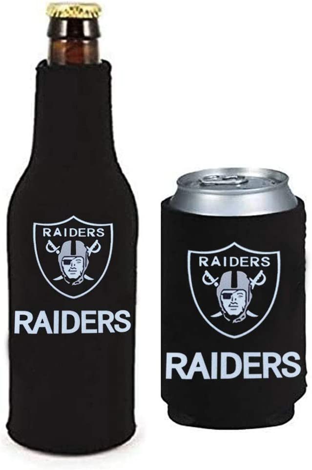 WENGUISP 2Pack for Oakland Raiders Fit Raiders Can /& Bottle Holder Insulator Beverage Cooler Set Neoprene Beer Bottle Cooler Sleeve with Zipper Sleeves for Las Vegas Raiders