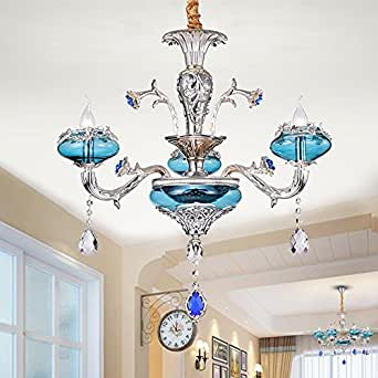 EKOO Blue French Crystal Chandelier Pendant Lamp Ceiling Home Light Fixtures zinc alloy (3 LIGHTS)