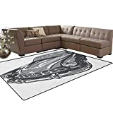 Cars,Floor Mat,Hand Drawn Vintage Vehicle with Detailed Front Part Hood Lamps Rear View Mirror,Soft Area Rugs,Grey Blue Grey Size:5'x6'