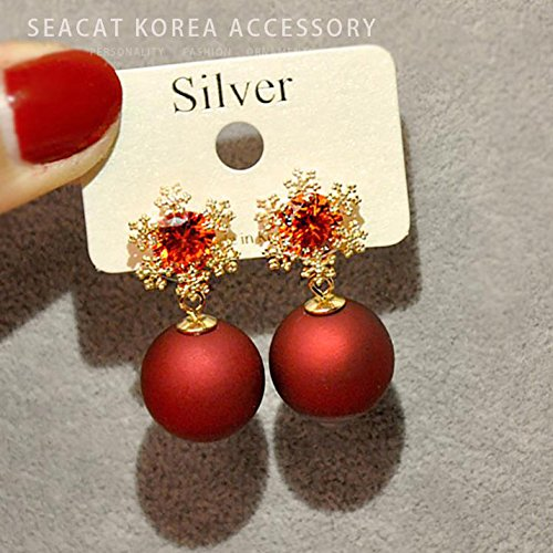 TKHNE Red thin face significant pearl earrings earrings women girls elegant personalized sterling silver snowflake winter cold wind ultra - Silver Winter Snowflake Sterling