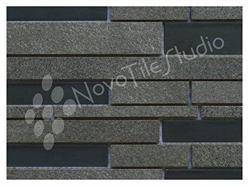 Box 10 Tiles Black Glass & Ceramic Mosaic Tile 12''x12'' PARMA-MX006 (10)