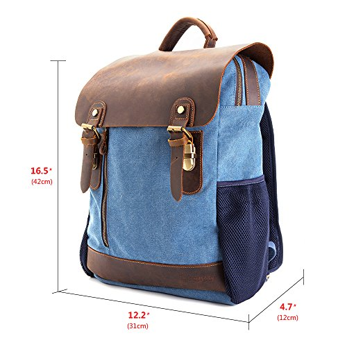 Vintage Leather Canvas Backpack - Retro Canvas School Rucksack Backpack up to 15.6 inch Laptop Bag by AUGUR (Image #3)
