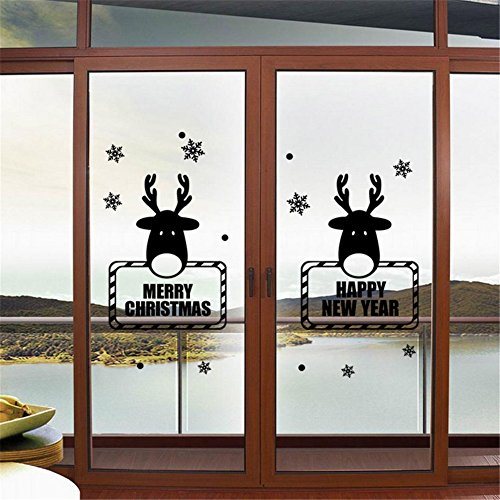 BIBITIME A Pair Reindeer Wall Decor Sticker Merry Christmas Deer Wall Decals Frozen Snowflake Dot Art Vinyl Happy New Year Sayings for Room Glass Door Showcase (DIY Size:29.4