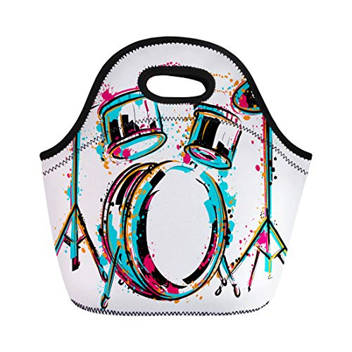 Semtomn Neoprene Lunch Tote Bag Reggae Drum Kit Splashes in Watercolor Colorful Sketch Music Reusable Cooler Bags Insulated Thermal Picnic Handbag for Travel,School,Outdoors,Work