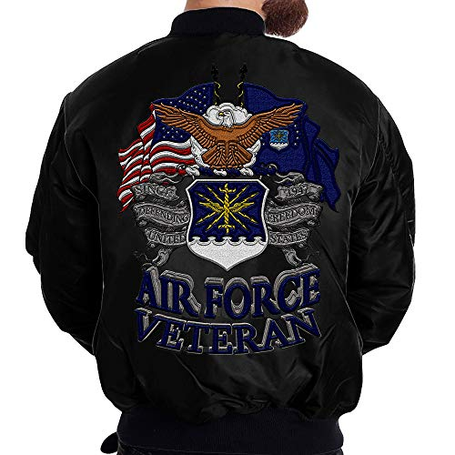 Familyloves U.S AIR Force Veteran Embroidered Jacket (M, Black)