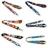 Anime 6 Pack Assorted LANYARDS Keychain Mobile Phone ID Holder Characters Cartoon Comics Superhero Logo Novelty Theme