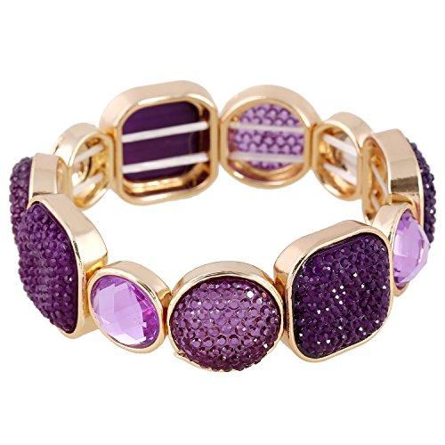 D EXCEED Women's Purple Diamond Cluster Resin Stone Stretch Bangle Bracelet, 7