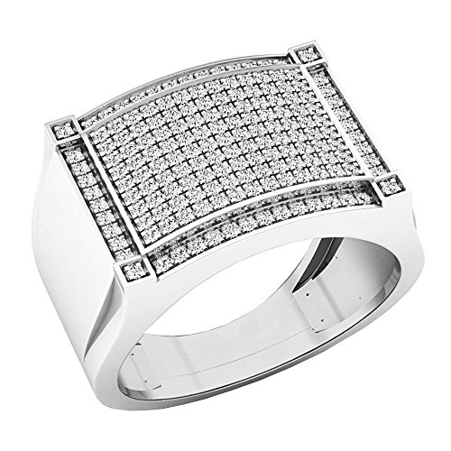 0.45 Carat (ctw) 10K White Gold Round Diamond Men's Hip Hop Wedding Band 1/2 CT (Size 8.5) by DazzlingRock Collection