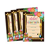 50 Tiki Hawaiian Luau Summer Swim Pool Party Invitations for Children, Kids, Teens & Adults, Flower Summertime Birthday Cookout Invitation Cards, Boys & Girls Floral Family Reunion BBQ Fill In Invites