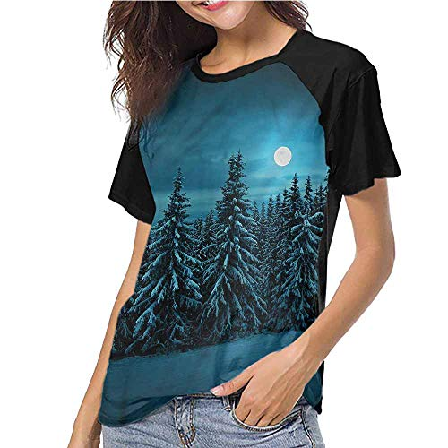 - Crew Neck Short Shirts,Night,Tranquil Snowy Woodland S-XXL(This is for Size Extra Extra Large),Women's Regular Top Sleeve