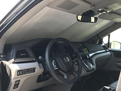 The Original Windshield Sun Shade, Custom-Fit for Honda Odyssey Minivan w/Sensor 2018, 2019, Silver Series