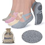 Non Slip Grip Socks for Yoga Pilates Barre Ballet Dance Fitness, Anti Skid Hospital Delivery Socks with Grips for Women