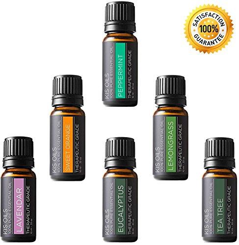 Aceites Esenciales para Aromaterapia - Kit Aceites Esenciales Top 6, 100% Puros, Grado Terapeutico, Aceites de Lavanda,...