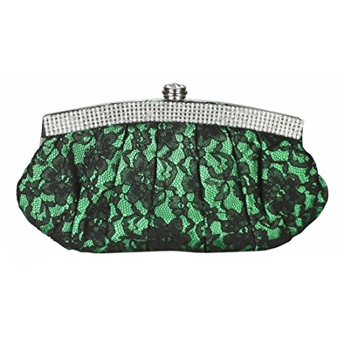 Party Bridal Bag Design Clutch Bags Handbag Wedding Evening Purse Diamante Foral Crystal Green Satin Lace Trim Prom IPwqxnUz