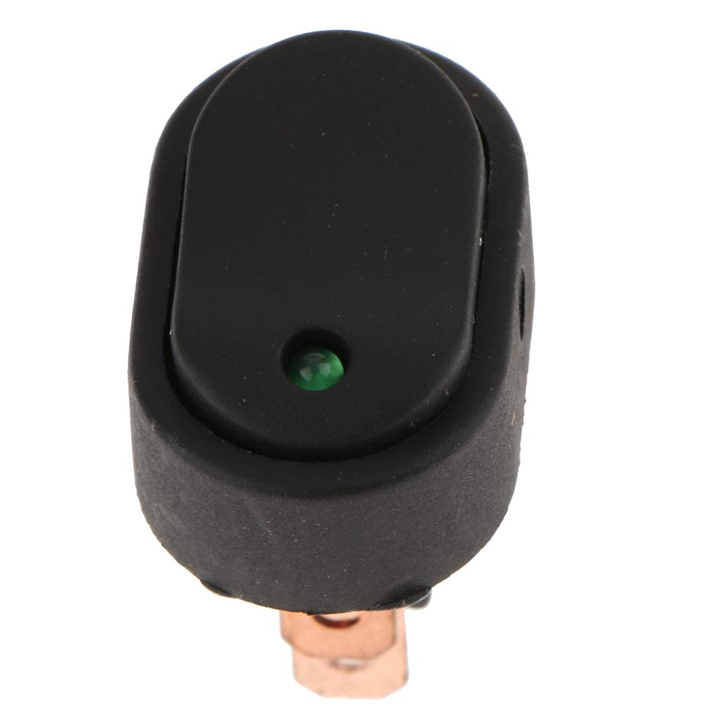 32x40mm Green MagiDeal 12V 30A 3-pin Car Truck Rocker Round Toggle LED Switch Modification