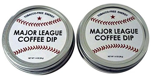 Chewing Tobacco Tin - Major League Coffee Dip (Pack of 2) Quit Chewing Tin Can Non Tobacco Nicotine Free Smokeless Alternative to Chew Snuff Snus Leaf