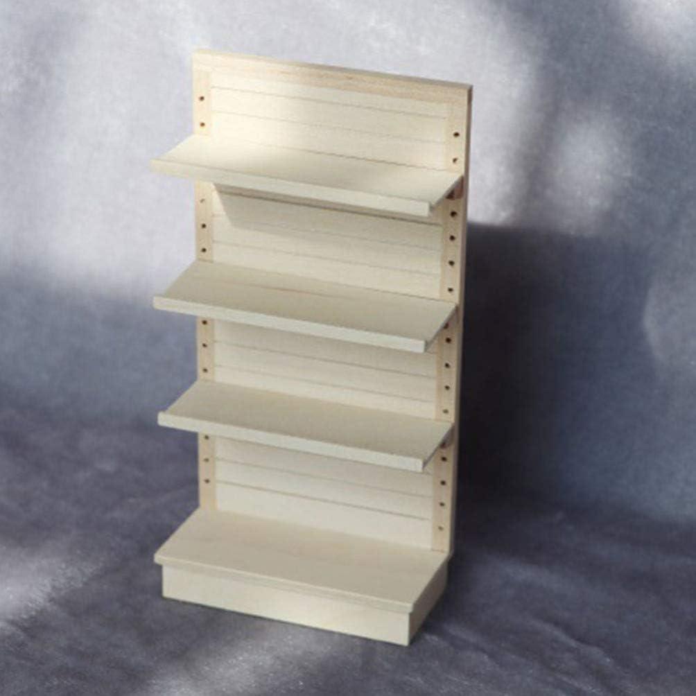Toyvian 1:12 Miniature Cupboard Dollhouse Bookshelf Wood Cabinet Mini Furniture Model Display Showcase Dollhouse Ornament Decoration