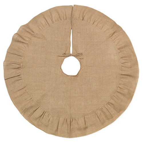 48 Inch Brown Burlap Christmas Tree Skirt