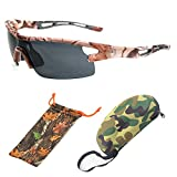 (#BBSE5 Blk) Men Women Unisex Camouflage Sport Wrap Sunglasses Eyewear Glasses For Outdoor HD Lenses With FREE Hard Case + Cleaning Pouch