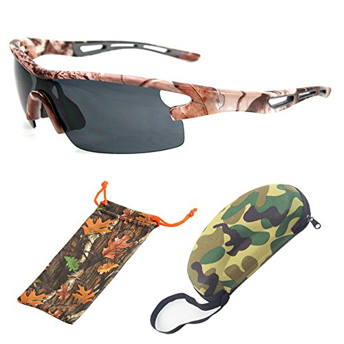 (#BBSE5 Blk) Men Women Unisex Camouflage Sport Wrap Sunglasses Eyewear Glasses For Outdoor HD Lenses With FREE Hard Case + Cleaning - Lens Camo Sunglasses