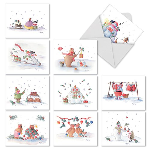 - Snow Buddies' Christmas Greeting Cards, Boxed Set of 10 Cute Christmas Illustrations Holiday Notes 4 x 5.12 inch, Assorted Snowman, Santa Claus and Bears Christmas Cards M2323