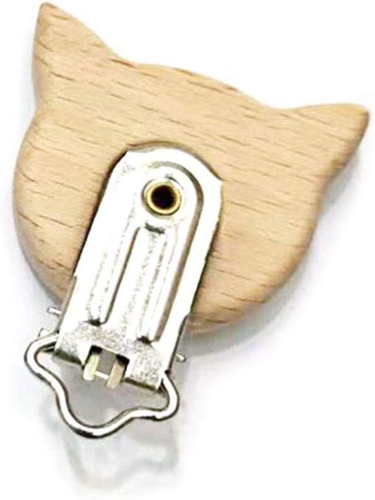 Youlin Attache T/étine Bois Pince /à Sucette Clip Wooden Pacifier Chain Clip pour Bebe