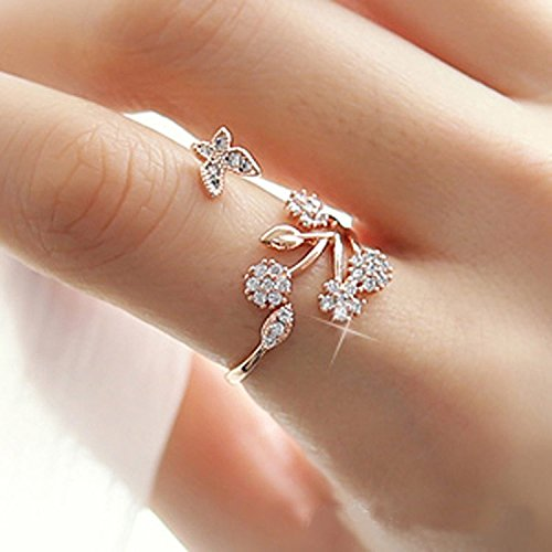 sandywident 925 Sterling Silver Adjustable Size Butterfly Trees Engagement Ring for Color Silver, Rose Gold