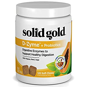 Solid Gold Digestive Enzyme Supplement for Healthy Digestion in Dogs & Cats; D-Zyme, Natural, Grain-Free Supplement Chews (120ct.) with Probiotics & Superfoods 55