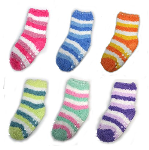 Microfiber Fluffy Socks for Kids Warm Pastel Color Sleeping Socks(6 Pair Set) (1 - 3 years (Microfiber Kids Socks)